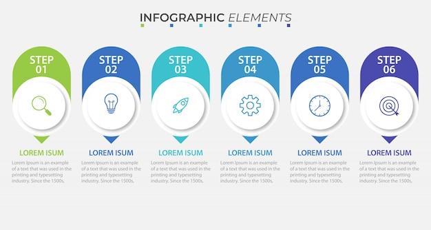 Presentación plantilla de infografía empresarial con 6 opciones. ilustración.