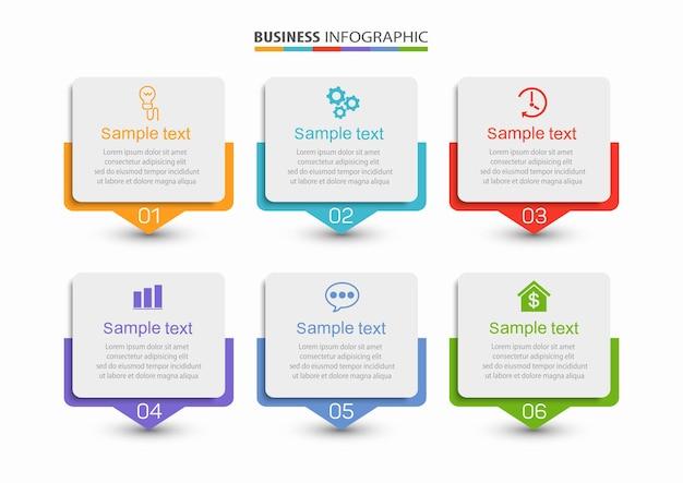 Presentación plantilla de infografía empresarial con 6 opciones.