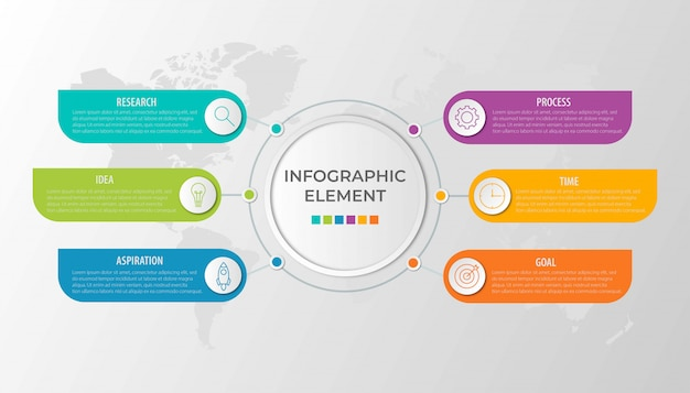 Presentación de plantilla de infografía empresarial con 6 opciones