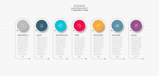 Presentación de plantilla de infografía empresarial con 7 opciones