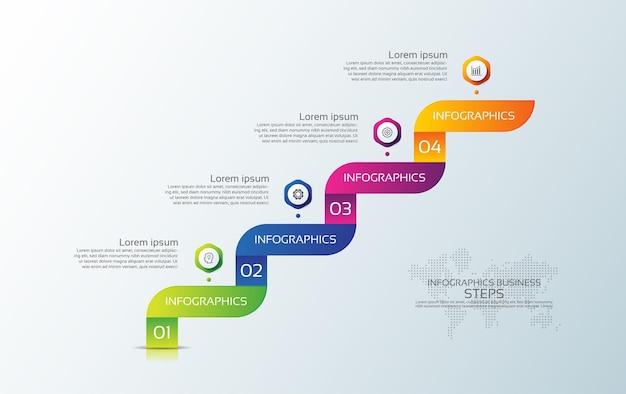 Presentación plantilla de infografía empresarial colorida con cuatro pasos