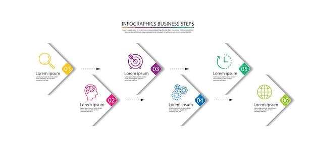 Presentación plantilla de infografía empresarial colorida con seis pasos