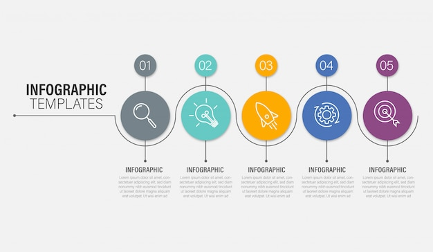 Presentación plantilla de infografía empresarial con opciones. ilustración.