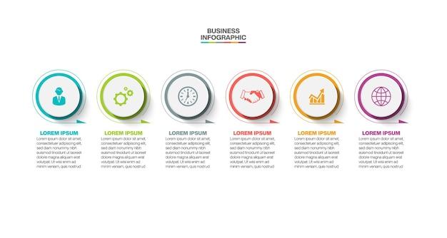 Presentación plantilla de infografía empresarial con seis opciones.
