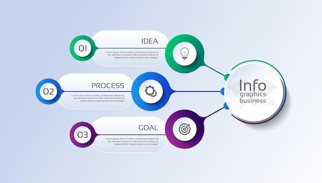 Presentación plantilla de infografía empresarial con tres pasos.
