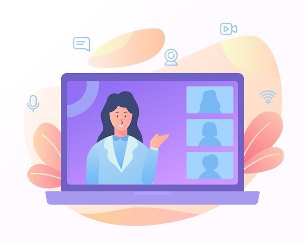 Presentación del profesor motivación seminario webinar e-learning curso en línea con diseño de estilo plano de dibujos animados.