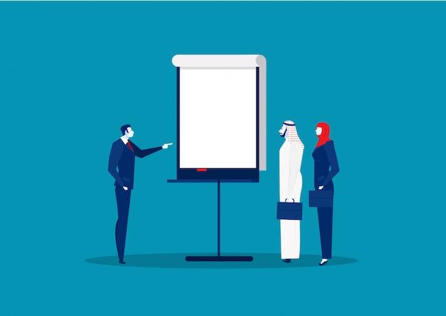 Presentación del proyecto empresarial para personas árabes para invertir vector