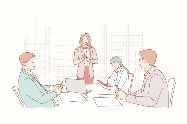 Presentación, rrhh, reunión, reclutamiento, capacitación, headhunting, concepto de negocio.