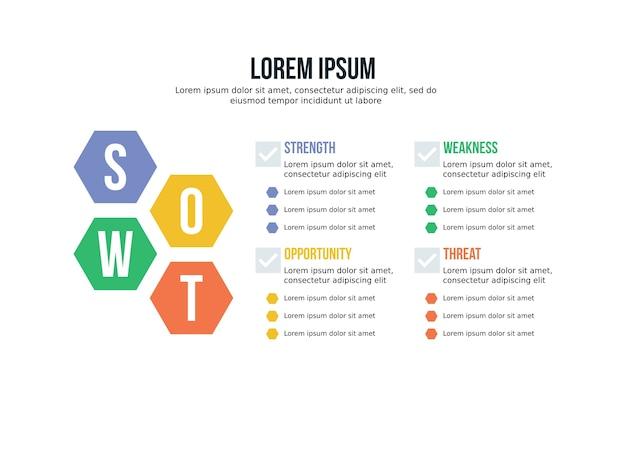 Presentación de swot infographic elemento y plantilla de estadística