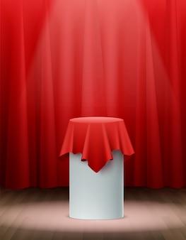 Presentación tela de seda roja sobre escenario realista
