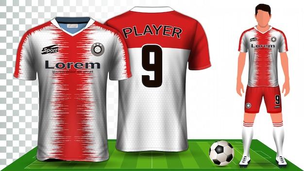 Presentación de uniforme de camiseta de fútbol, camisa deportiva o kit de fútbol.