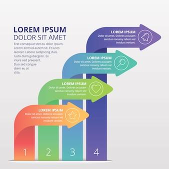 Presentación web de elemento de flecha de infografía