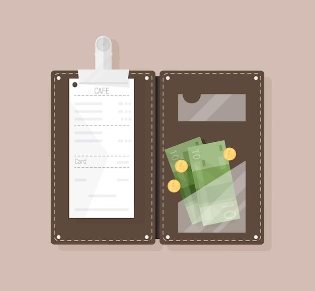 Presentador de cheque abierto con recibo de restaurante, billetes y monedas