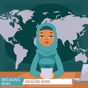 Presentador femenino árabe de las noticias en el fondo de las noticias de última hora de la tv, ilustración plana.