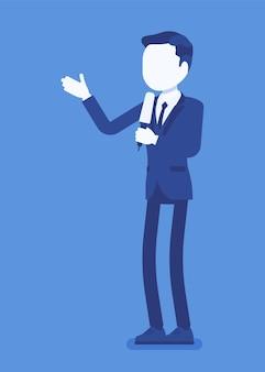 Presentador de noticias, presentador de noticias masculino o locutor de noticias. hombre joven con micrófono de entrevista de tv, presentador de pie presentando noticias e información de última hora. ilustración vectorial, personaje sin rostro