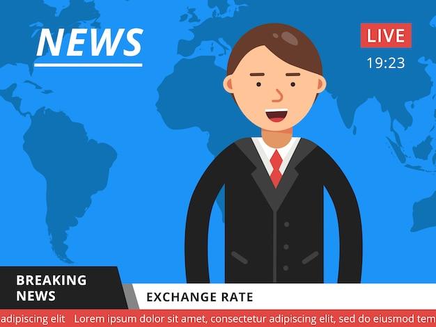 Presentador de noticias en televisión. ilustración de vector de noticias de última hora