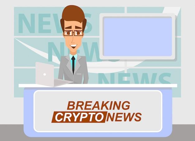 Presentador de noticias transmitiendo las últimas noticias importantes de criptografía del estudio de televisión.