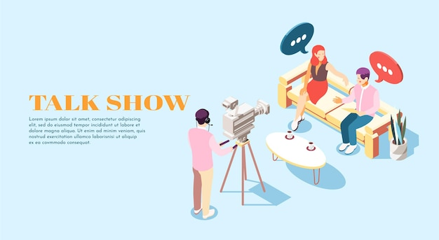 Presentador de programa de entrevistas isométrico invitado y operador ilustración 3d