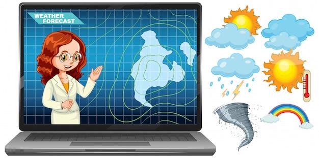 Presentador que informa el pronóstico del tiempo en la pantalla del portátil con el icono del tiempo