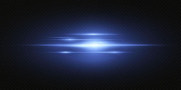 Presentamos los efectos de los juegos de luces de neón. línea abstracta azul brillante. adecuado para efecto de destello de lente transparente. luz brillante