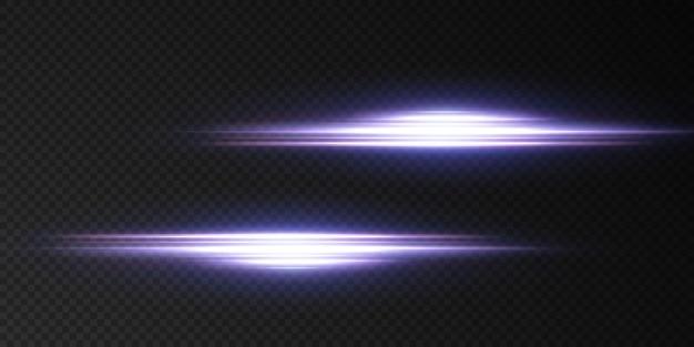 Presentamos los efectos de los juegos de luces de neón. línea abstracta azul brillante. adecuado para efecto de destello de lente transparente.