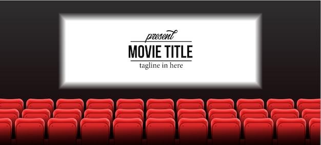 Presente la plantilla del nombre del espectáculo con asientos vacíos de color rojo en el cine cine con pantalla