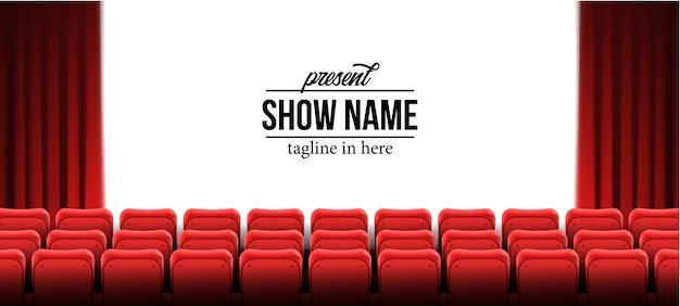 Presente la plantilla del nombre del espectáculo con asientos vacíos rojos en el cine cine