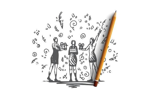 Presente, regalo, concepto de fiesta de cumpleaños. dos niñas sosteniendo y dando regalos a la dama de cumpleaños con pastel en las manos. ilustración de boceto dibujado a mano