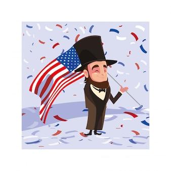Presidente abraham lincoln con bandera usa, tarjeta del día del presidente