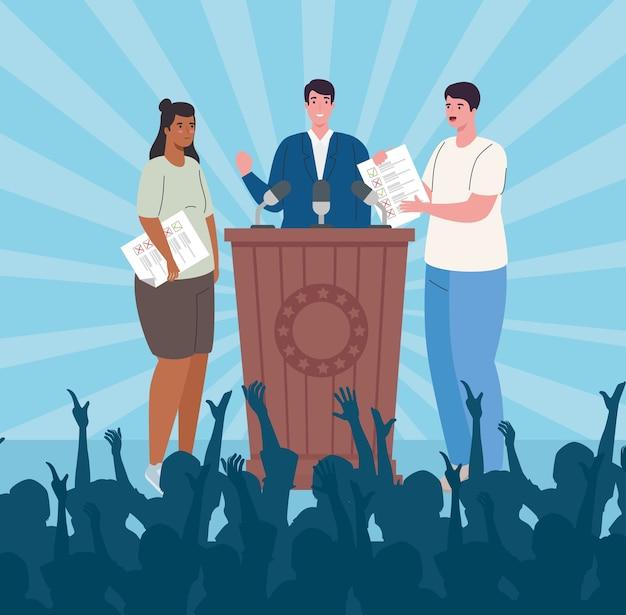 Presidente del día de las elecciones en el podio mujer y hombre diseño de dibujos animados, gobierno