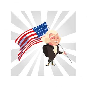 Presidente george washington con bandera usa, tarjeta del día del presidente