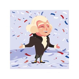 Presidente george washington, tarjeta del día del presidente
