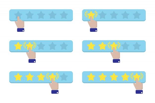 Presiona una estrella a mano y le da una calificación.
