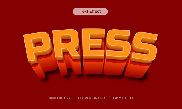 Presione con efecto de texto 3d de sombra larga naranja