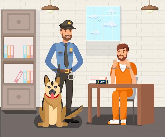 Preso y oficial de policía