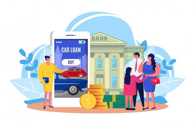 Préstamo para automóvil, caricatura, pequeñas personas de la familia obtuvieron crédito aprobado por el banco para comprar un automóvil nuevo en blanco