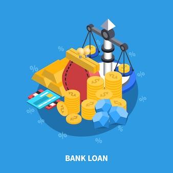 Préstamo bancario isométrico redondo composición