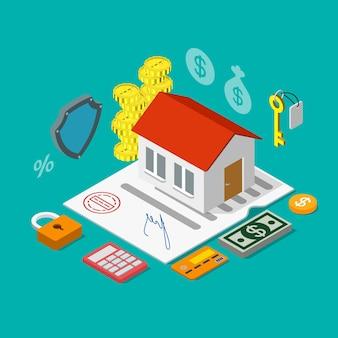 Préstamo de crédito hipotecario de vivienda isométrica plana