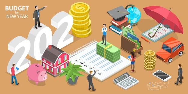 Presupuesto para año nuevo, planificación financiera comercial o familiar. ilustración conceptual plana isométrica.