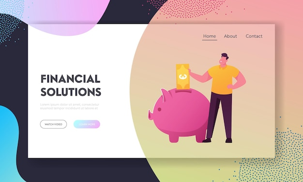 Presupuesto financiero, plantilla de página de destino de diversificación de ahorros.