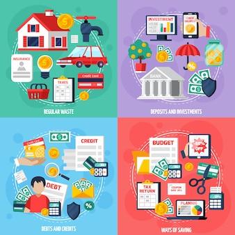 Presupuesto personal concepto conjunto de iconos