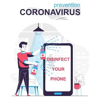 Prevención concepto de dibujos animados aislados de coronavirus hombre rociando desinfectante al teléfono móvil