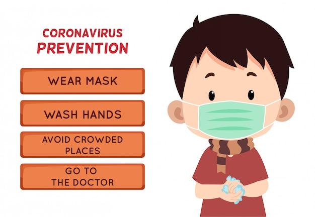 Prevención del coronavirus con carácter infantil