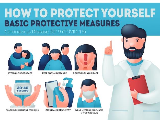 Prevención del coronavirus covid-19. caucasion médico explica las medidas de protección. banner de infografía, usar mascarilla, lavarse las manos, desinfectar.