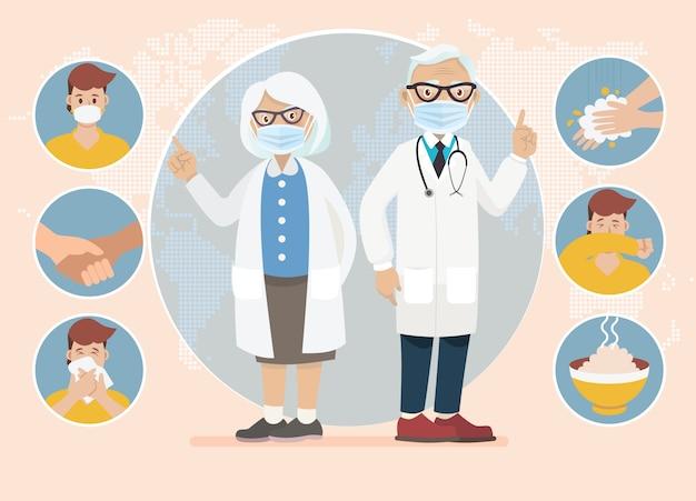 Prevención del coronavirus (covid-19). el doctor explica la infografía, usa una mascarilla, se lava las manos, come alimentos calientes y evita ir a lugares de riesgo. ilustración. idea para brote de coronavirus y prevención.