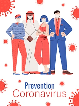 Prevención del coronavirus con personas que usan máscaras médicas