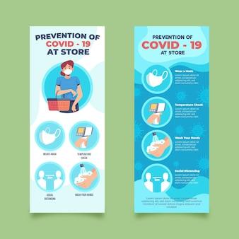 Prevención covid-19 en la plantilla de diseño de banners de tienda