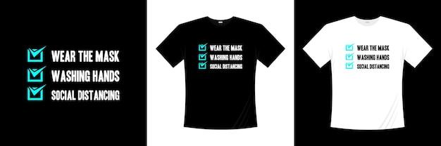 Prevención del diseño de camiseta de tipografía covid-19