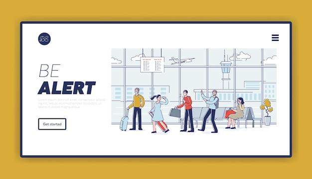 Prevención de la distancia social en los aeropuertos mientras la gente viaja tosiendo