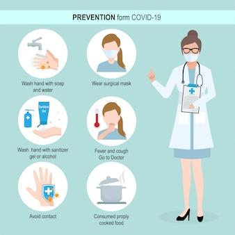Prevención formulario covid-19, ilustración infográfica
